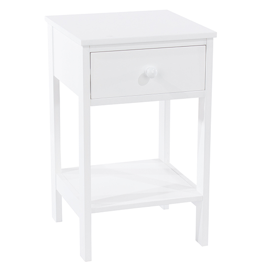 Options Shaker Petite Bedside Cabinet In White 1 Drawer