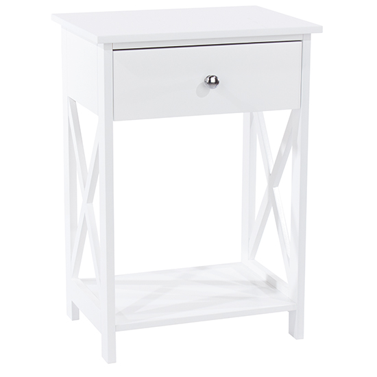 Options Vermount Bedside Cabinet In White With 1 Drawer