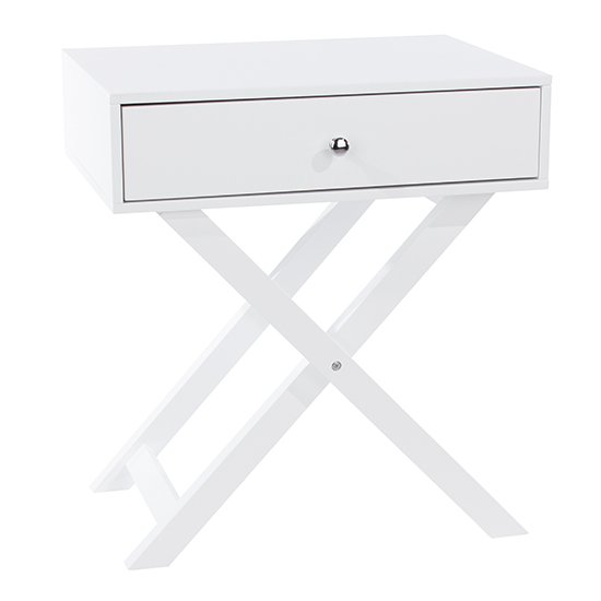 Options X Leg Petite Bedside Cabinet In White With 1 Drawer