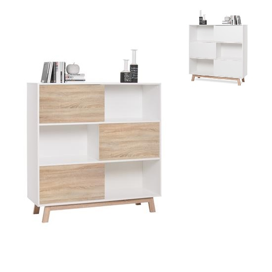 Optra Bookcase In Reversible White And Oak With 3 Sliding Doors_8