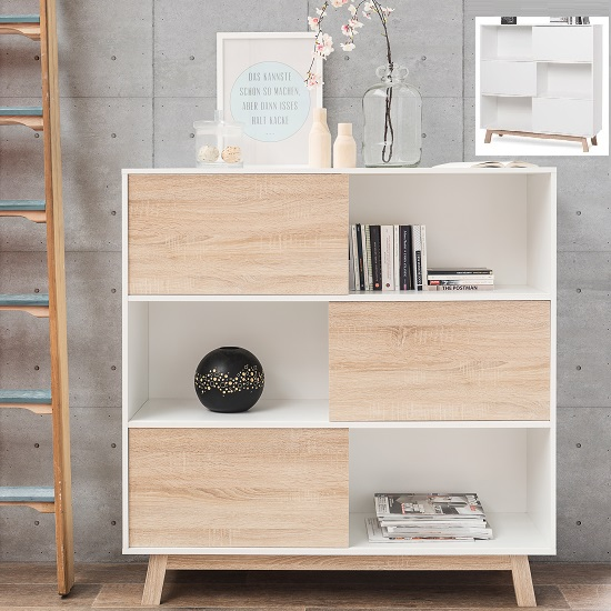 Optra Bookcase In Reversible White And Oak With 3 Sliding Doors_2