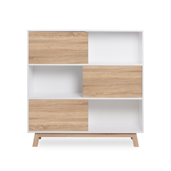 Optra Bookcase In Reversible White And Oak With 3 Sliding Doors_3