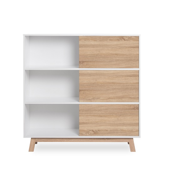 Optra Bookcase In Reversible White And Oak With 3 Sliding Doors_4
