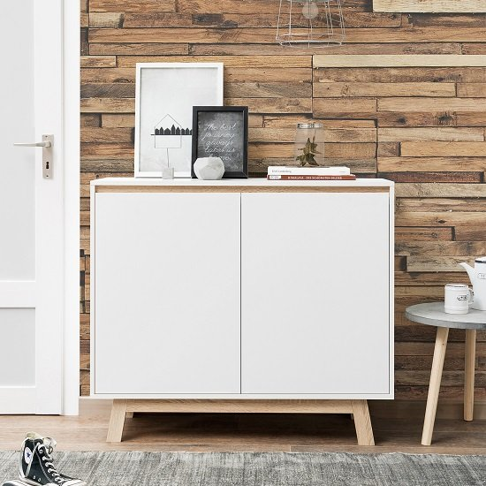 Optra Compact Sideboard In White And Oak Trim With 2 Doors