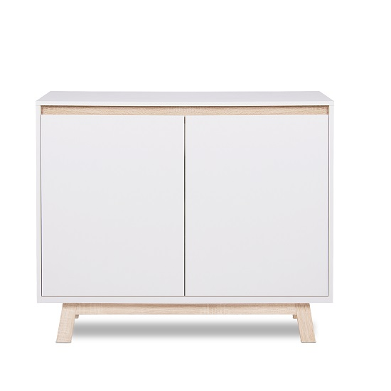 Optra Compact Sideboard In White And Oak Trim With 2 Doors_4