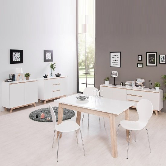 Optra Compact Sideboard In White And Oak Trim With 2 Doors_5