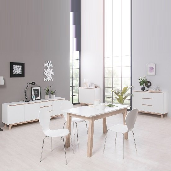 Optra Compact Sideboard In White And Oak Trim With 2 Doors_7