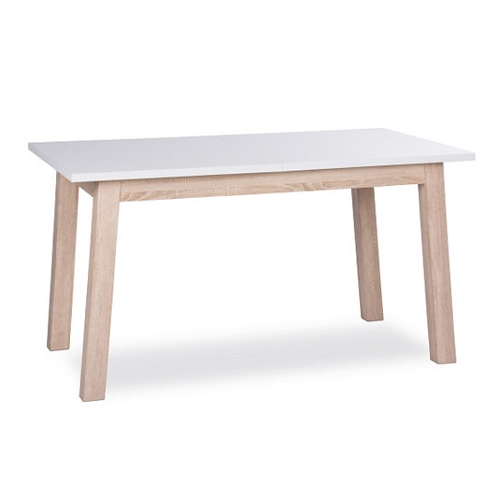 optra extendable dining table rectangular in white and oak On table a manger rallonge papillon