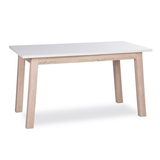 Optra extendable dining table rectangular in white and oak for Table extensible papillon