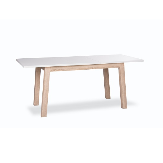 Optra Extendable Dining Table Rectangular In White And Oak
