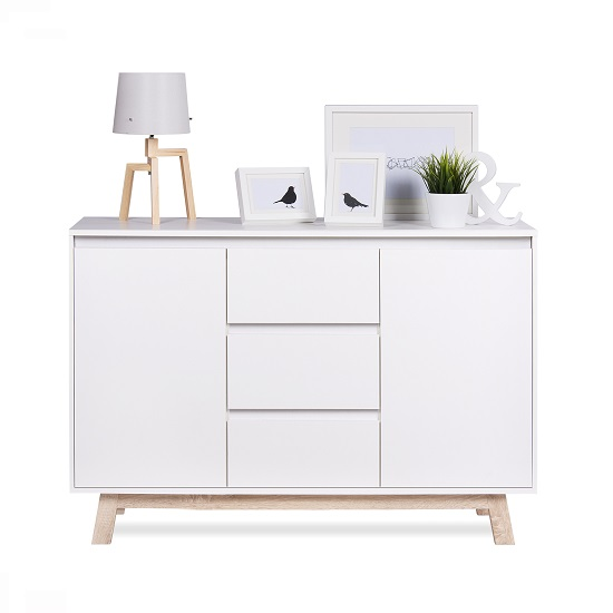 Optra Sideboard In White And Oak Trim With 2 Doors_2