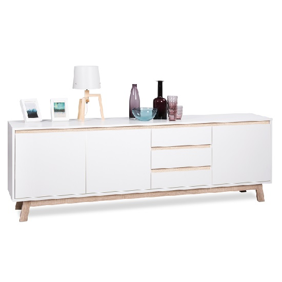 Optra Large Sideboard In White And Oak Trim With 3 Doors_4