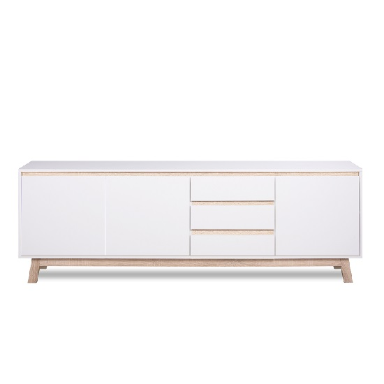 Optra Large Sideboard In White And Oak Trim With 3 Doors_5