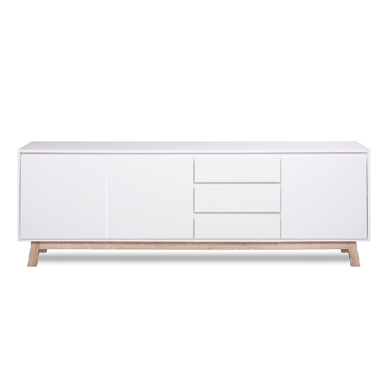 Optra Large Sideboard In White And Oak Trim With 3 Doors_2