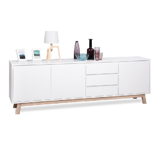 Optra Large Sideboard In White And Oak Trim With 3 Doors_3