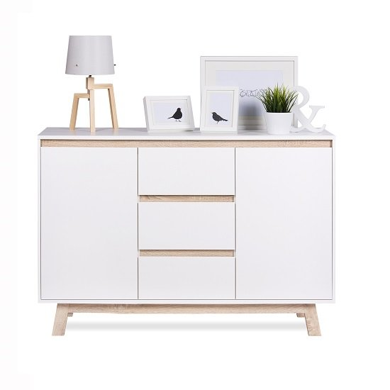 optra sideboard in white and oak trim with 2 doors 28144. Black Bedroom Furniture Sets. Home Design Ideas