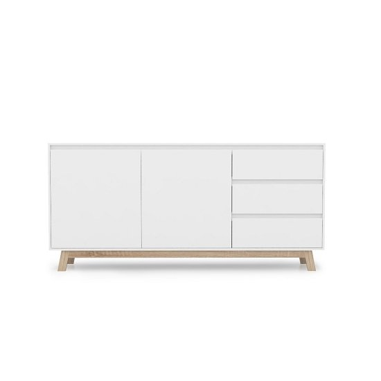 Optra Wooden Sideboard In White And Oak With 2 Doors