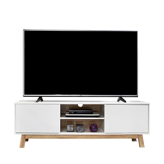 Optra Wooden TV Stand In White And Sonoma Oak