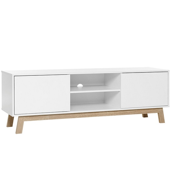 Optra Wooden TV Stand In White And Sonoma Oak_2