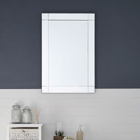 Optre Rectangular Bevelled Edge Wall Mirror In Silver