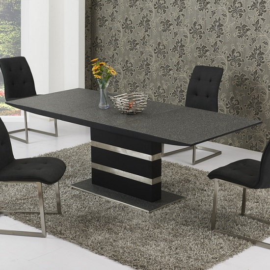Optra Glass Small Extending Dining Table In Black Stone Finish