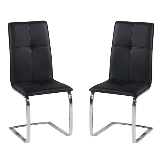 Opus Black Finish Dining Chair In Pair