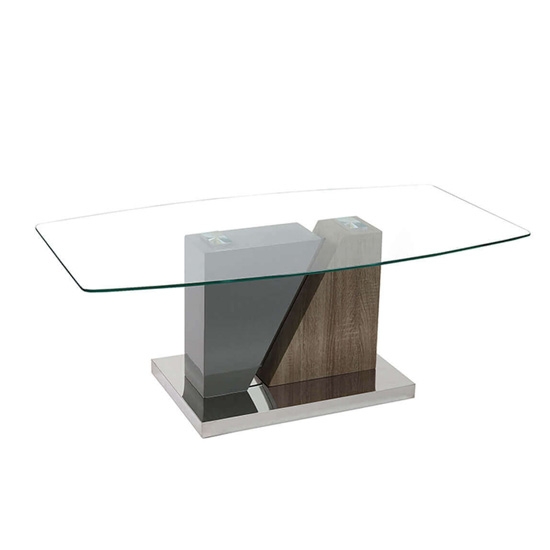 Opus Clear Glass Coffee Table In Mink Grey High Gloss And Ash