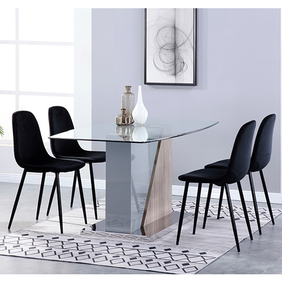 Opus Glass Dining Set With 4 Alpine Black Velvet Chairs
