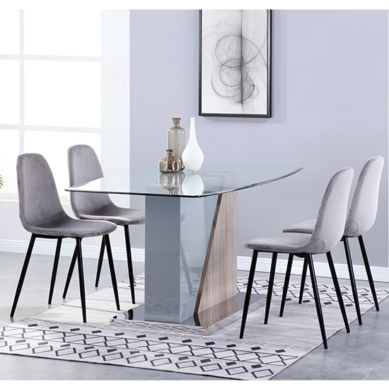 Opus Glass Dining Set With 4 Alpine Grey Velvet Chairs