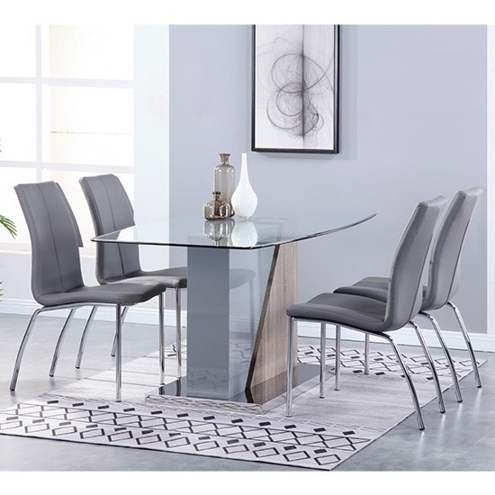 Opus Glass Dining Set With 4 Boston Grey Leather Chairs_1