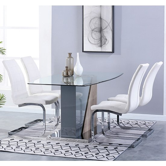 Opus Glass Dining Set With 4 New York White Leather Chairs