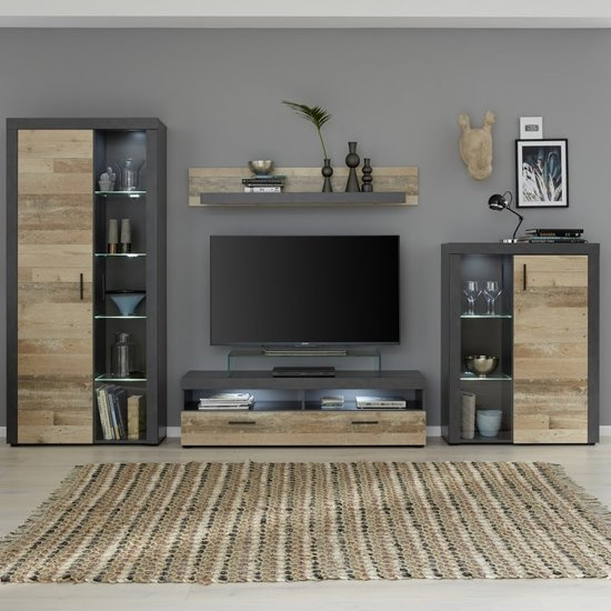Opus LED Living Room Furniture Set In Pale Wood And Matera