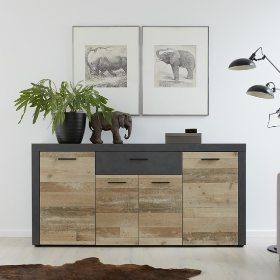 Opus Sideboard In Pale Wood And Matera With 4 Doors And 3 Drawer