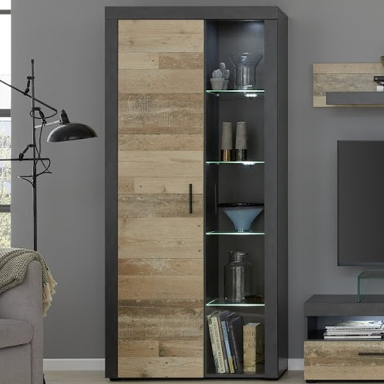 Opus LED Tall Display Cabinet In Pale Wood And Matera
