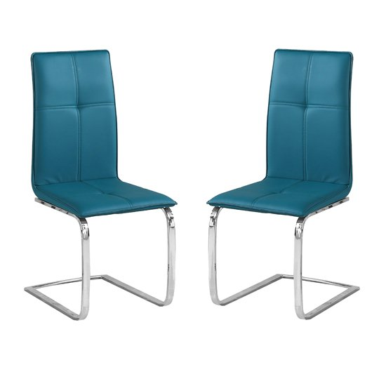 Opus Teal Finish Dining Chair In Pair