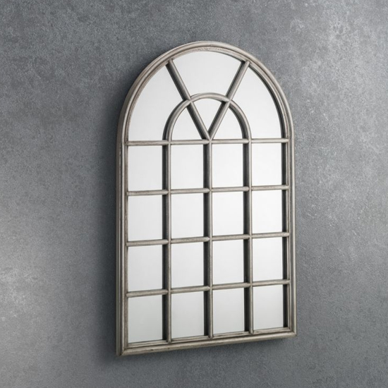 View Opus window mirror in pewter frame