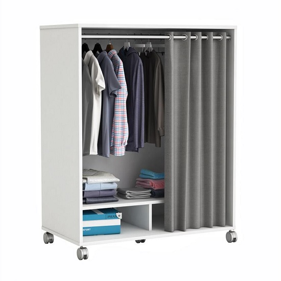 Opus Storage Unit In Pearl White And Grey Curtain With Rollers