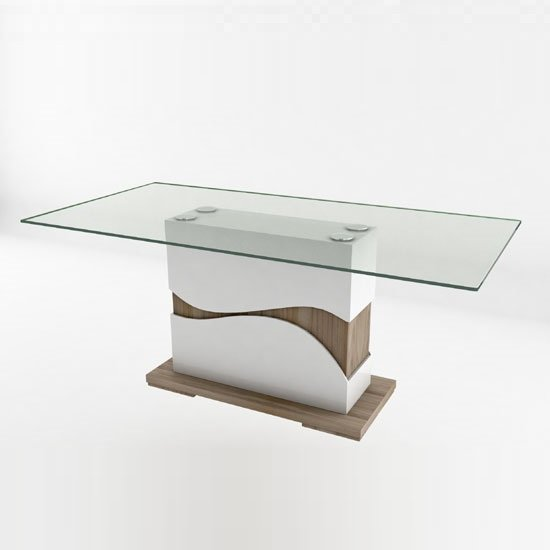 Oracle Glass Dining Table Rectangular In Oak And White