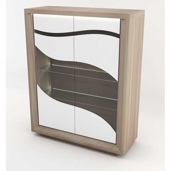 Oracle Display Cabinet In Oak And White With 2 Glass Doors