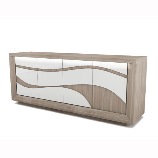 Oracle Wooden Sideboard In Oak And White With LED Lighting