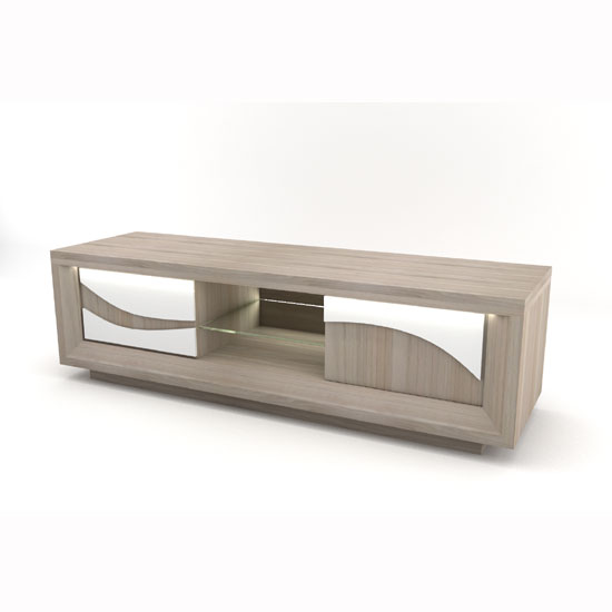 Oracle Wooden TV Stand In Oak And White With LED Lighting