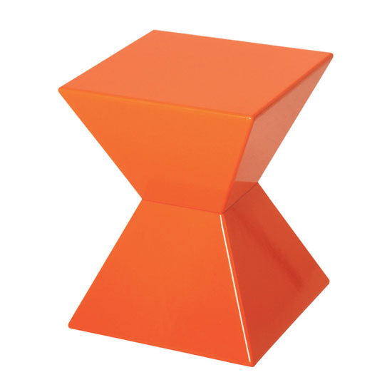 edge funky end table in orange high gloss lacquered side