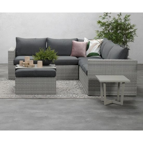Oravo Corner Sofa With Footstool In Organic Grey