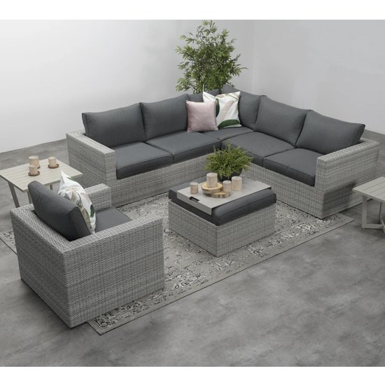 Oravo Corner Sofa Group With Armchair In Organic Grey_3