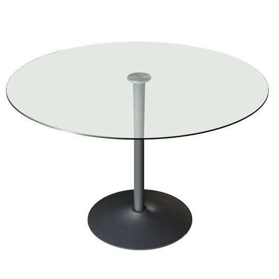 Orbik Clear Glass Dining Table With Grey Metal Base