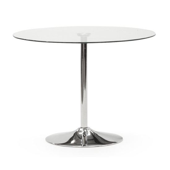Orbik Clear Glass Round Dining Table With Polished Metal Base