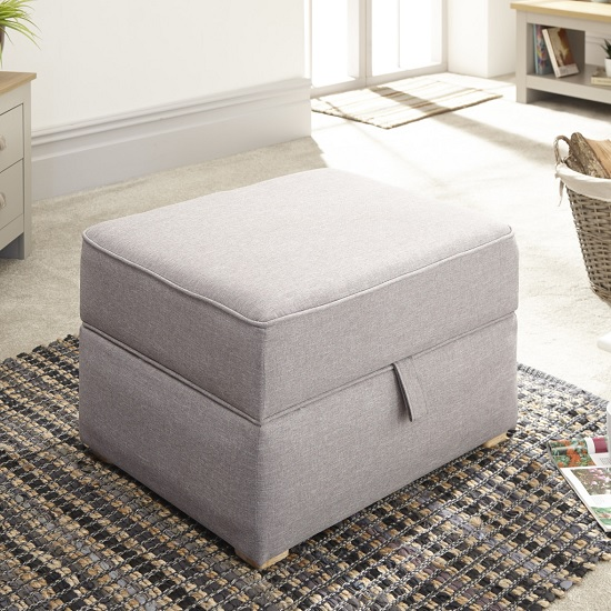 View Orbis fabric storage foot stool square in light grey hopsack