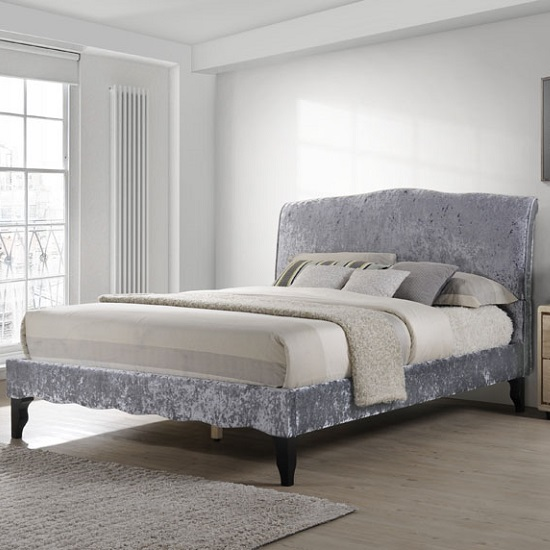 Orbit Fabric Double Bed In Dark Grey Crushed Velvet_1