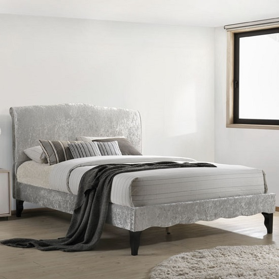 Orbit Fabric King Size Bed In Ice Crushed Velvet