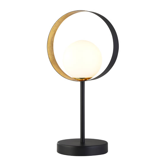 Orbital 1 Table Lamp In Matt Black And Gold Leaf With Opal Glass